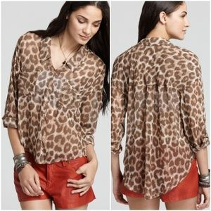 FREE PEOPLE Easy Tider Animal Print Blouse LARGE